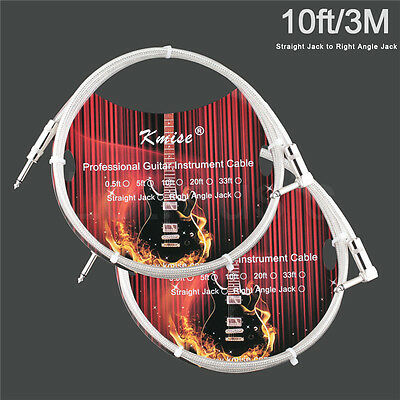 2 Pcs Kmise Guitar Cable Cord Straight to Right Angle 10ft or Electric Guitar
