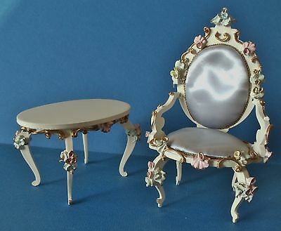 Vintage SPIELWAREN Doll Furniture Rococo Occasional TABLE and CHAIR Germany '50s