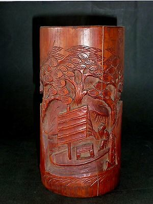 ORIGINAL CHINESE HAND CARVED low relief BAMBOO BITONG brush pot VINTAGE
