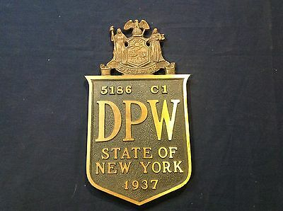 Antique 1937 New York State Department Of Water Bronze Plaque Sign