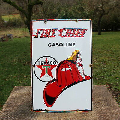 Vintage 1956 Texaco Fire Chief Gasoline Porcelain Pump Plate Sign Gas Station