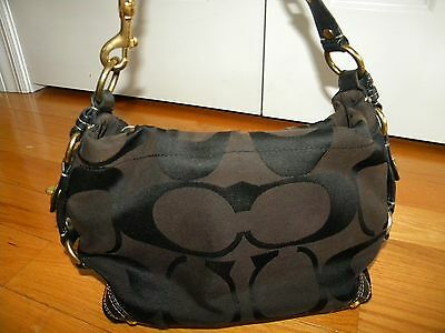 Coach Carly Black Canvas Signature Brown Leather Shoulder Bag #10618