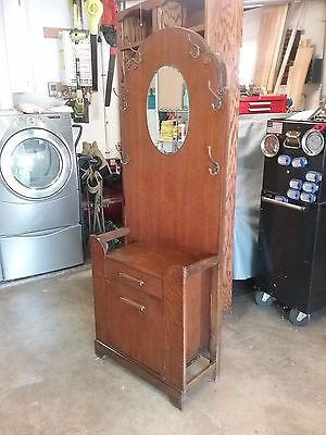 Antique Oak Hall Tree Tall  w/ Mirror Coat Hanger and Storage