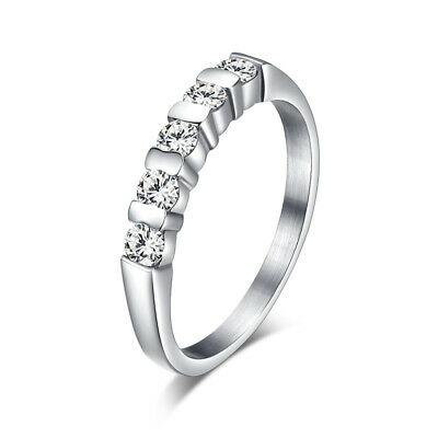 316L Stainless Steel AAA Cubic Zircon Engagement Band Womens Wedding Ring Sz 6-9