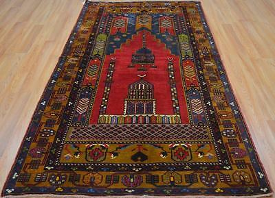 4'2x8'3 Persian Style Fine Genuine Turkish Handmade Natural Dyes Wool Prayer Rug
