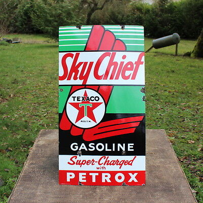 Vintage 1957 Texaco Sky Chief Gasoline Porcelain Gas Pump Plate Sign Station