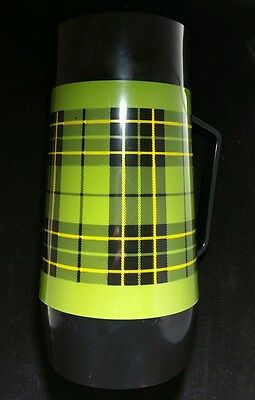 Vintage 1970s Retro Green Plaid Thermo Serv Thermos Coffee Camping Hunting Soup