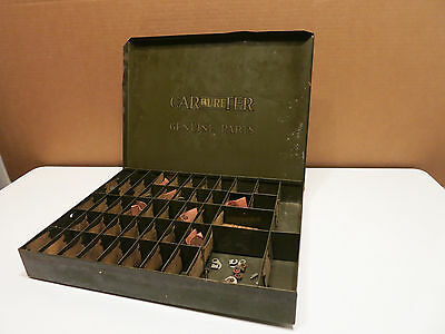 "VINTAGE ""CARBURETER GENUINE PARTS"" METAL DISPLAY Drawer Cabinet Dealer Display"