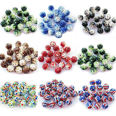 10Pcs Czech Crystal Rhinestone Pave Clay Round Disco Ball Loose Bead Craft 10MM