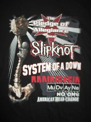 2001 SLIPKNOT Pledge of Allegiance Concert (XL) Shirt SYSTEM OF A DOWN Rammstein