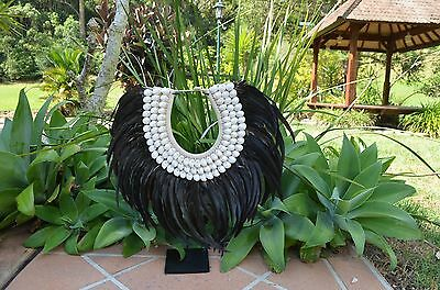 Large Tribal Black feather & shell necklace with or without stand
