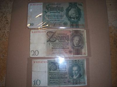 WWll German 3rd Reich currency.. (3) notes (nazi era  notes)