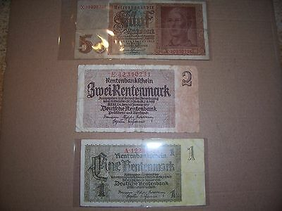 WWll German 3rd Reich currency.. (3) notes (nazi era swasticka notes)
