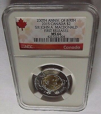 2015 Canada Ngc First Releases Ms66 Sir John A. Macdonald $2! Top Pop!