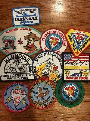 10 Mint 1985 Diamond Jubilee 75th Patches Tomahawk Towpath Thompson Poudre