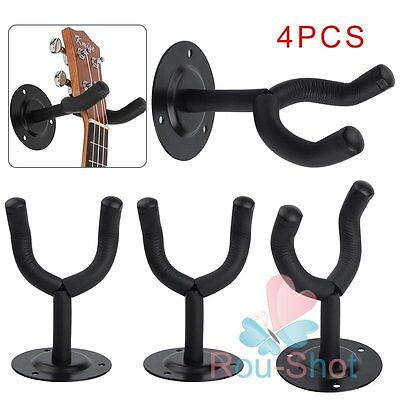 4 x Guitar Wall Mount Hanger Stand Holder Hooks Display Acoustic Electric Bass