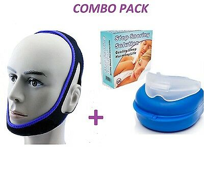 Anti Snore Combo MouthPiece Sleep Apnea Night Guard + Anti Snore Chin snoring