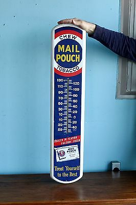Original 1950's Mail Pouch Tobacco Advertising Thermometer Sign Gas Oil Nice!