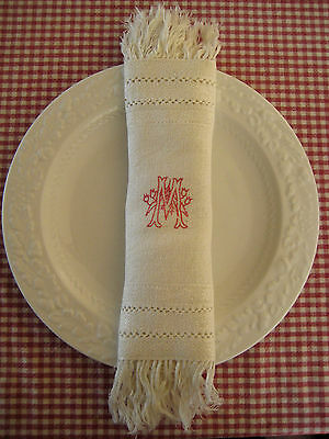 Antique Embroidery Placemat Napkin Doily Fringe Tassel 11''x 10'' initial M