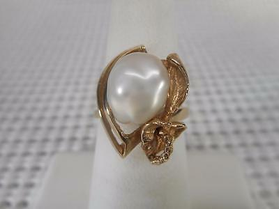 """Vintage """"BAROQUE"""" Cultured Pearl - 1950's/60's - 14K Solid Gold Cocktail Ring"""
