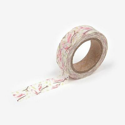 Washi Tape Dailylike BIRD SONG Pink Branches Pretty 15mm x 10m Floral