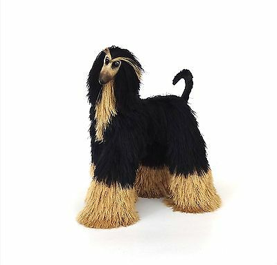 afghan hound, black beige dog, collectibles animals, cute plush toy, sculpture