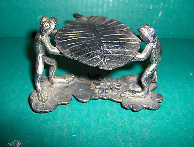 Metzke 1994 Pewter Frogs Leaf Lilly Pad Figurine Statue Lillypad Bull Frog