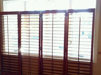 "Interior Solid Wood Custom Plantation Shutters Two Pairs Available 3.5"" Louvers"