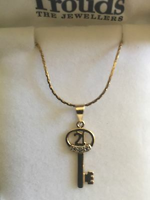 21st Pendant 9ct Gold key with 3 small CZ and new Yellow GF chain , free post
