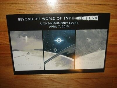"3 LOT of BEYOND the world of Interstellar 2015 12""x17"" IMAX 1 NIGHT EVENT Poster"