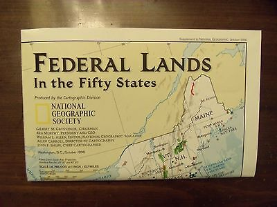 National Geographic Map Federal Lands In The Fifty States October 1996