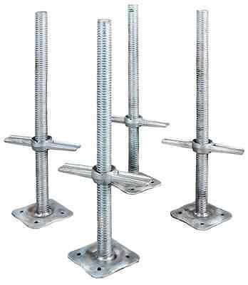 Leveling Jacks 24 In. Steel Scaffolding Adjustable Heavy Duty Base Plate 4 Pack
