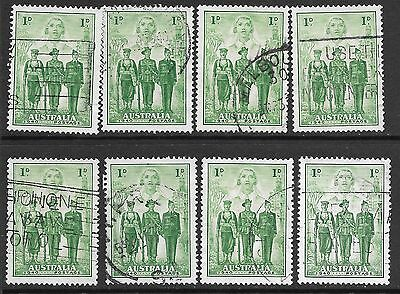 PRE-DECIMAL    1d  GREEN  ARMED FORCES  X  8 STAMPS