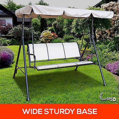 3 Seater Outdoor Swing Chair Canopy Steel Framed Hanging Bench Garden Pool Deck