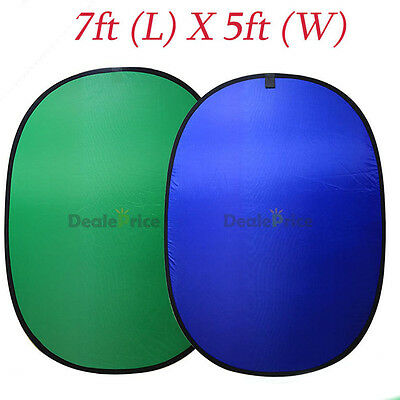 Green + Blue 2-in-1 Backdrop 5'x7' Popup Background Panel Collapsible Chromakey