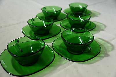 Retro Glass Cup and Saucer Set