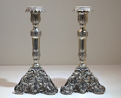Portuguese Pair of 833 Silver Reticulated Candlesticks Porto 1930s