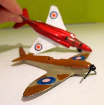 Vintage  Matchbox Phantom 1975 and Spitfire 1973  Diecast Aircraft