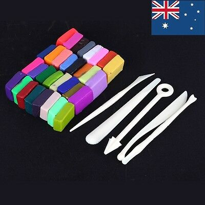 5 Tools +32Colors Oven Bake Polymer Clay Block Modelling Moulding Sculpey Toy AU
