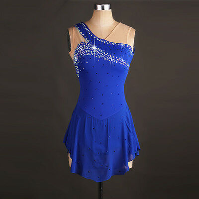 Blue Ice Skating Dress Lycra Competition Performance Diamond Skirted Leotard