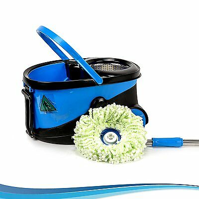 Microfiber Spin Mop and Bucket - Spin Dry Bucket with Wheels - no Bending - Wash