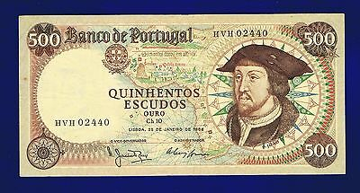 Portugal Banknotes  500  Escudos  D Joao  II 1966 VERY FINE HVH 02440