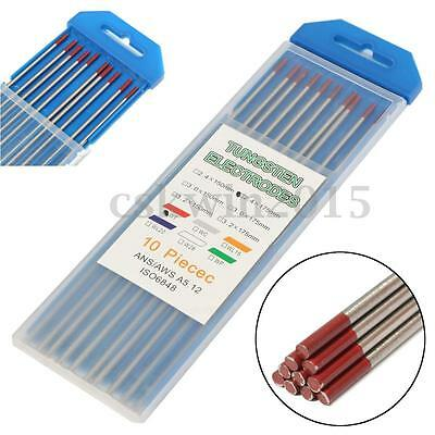 10Pcs 2.4x175mm WT20 2% Red Tipped Thoriated Tungsten Welding TIG Electrode NEW
