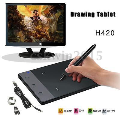 Professional USB Art Graphics Drawing Tablet Pad + Digital Pen For Huion H420