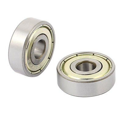 2pcs Metal Mute Deep Groove Sealed Shielded Ball Bearing Silver Tone 7x22x7mm