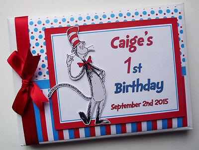 Dr Seuss Cat In The Hat Boy/girl /first/1St Birthday Guest Book Any Design