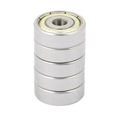 5 Pcs Metal Deep Groove Sealed Shielded Ball Bearing 5mmx19mmx6mm Silver Tone