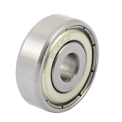 Metal Deep Groove Sealed Shielded Ball Bearing Silver Tone 6mmx22mmx7mm