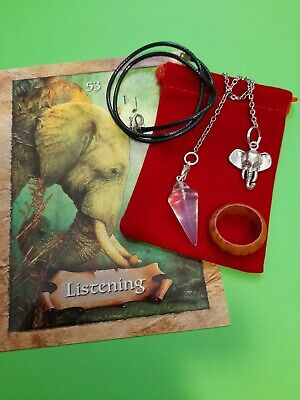 Rose Quartz Pendulum Heart Crystal Gemstone Necklace+ Extras & Booklet Wicca