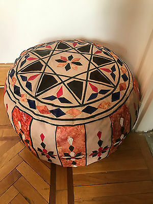 Egyptian Bedouin footstool Pouf Moroccan pouffe quilted camel leather Handmade